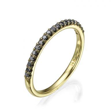 Black Diamond Band Ring in 14K Yellow Gold - Princess