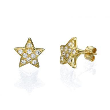 Gold Stud Earrings - Zodiac Star