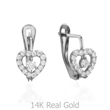 Drop White Gold Earrings - Beating Heart