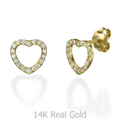 Stud Earring in Yellow Gold - Royal Heart