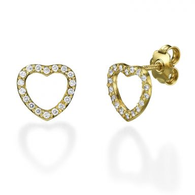 14K Yellow Gold Women's Earrings - Royal Heart