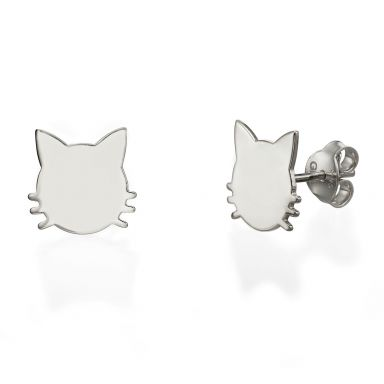 14K White Gold Women's Earrings - Whiskered Cat