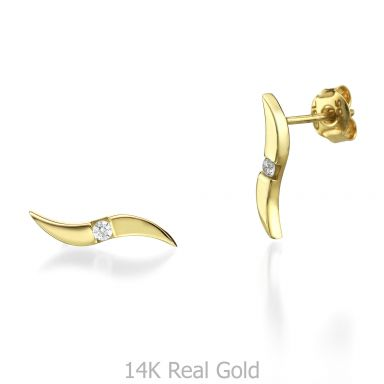 Yellow Gold Stud Earrings - Shiny Waves