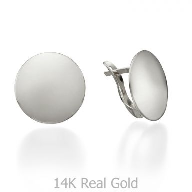 14K White Gold Women's Earrings - Orb