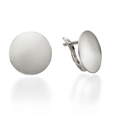 White Gold Hoop Earrings - Orb