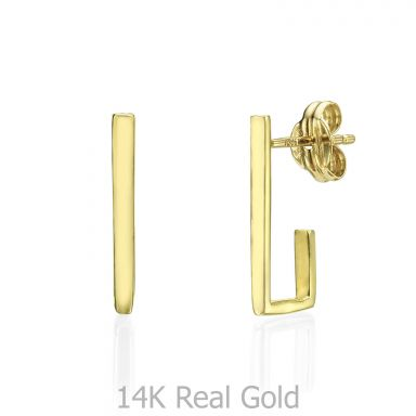 Stud Earrings in 14K Yellow Gold - Embracing Line