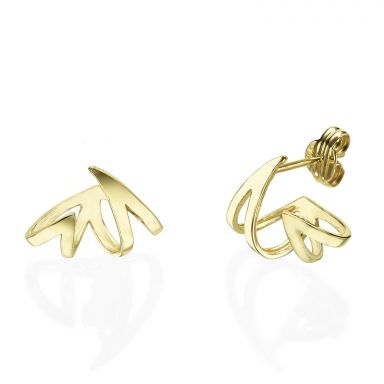Stud Earrings in 14K Yellow Gold - Flame & Fire