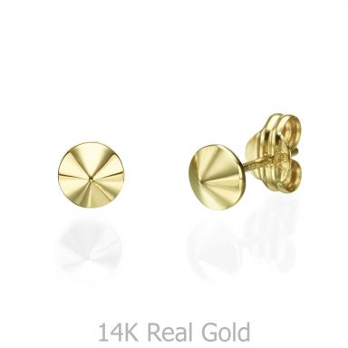 Stud Earrings in 14K Yellow Gold - Golden Point