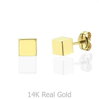 Stud Earrings in 14K Yellow Gold - Golden Cube - Large