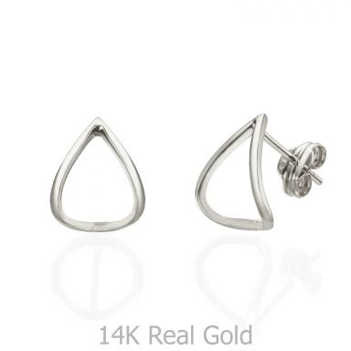 Stud Earrings in 14K White Gold - Embracing Drop
