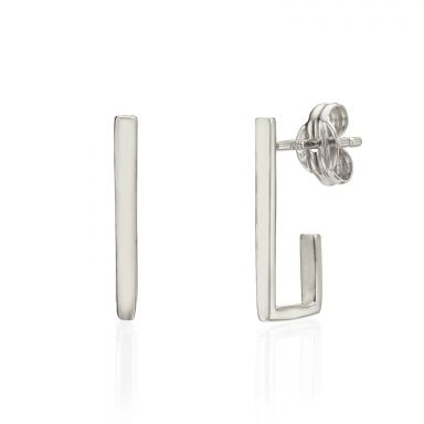 Stud Earrings in 14K White Gold - Embracing Line