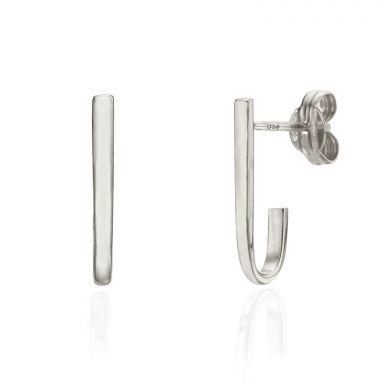 Stud Earrings in 14K White Gold - Golden Curve