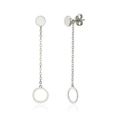 Drop and Dangle Earrings in 14K White Gold - Dangling Circles