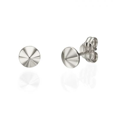 Stud Earrings in 14K White Gold - Golden Point