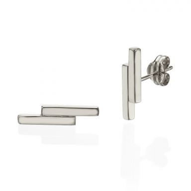 Stud Earrings in 14K White Gold - Golden Brick