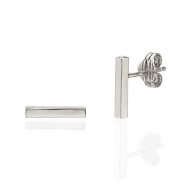 Stud Earrings in 14K White Gold - Golden Bar