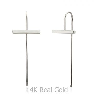 Drop and Dangle Earrings in 14K White Gold - Eva