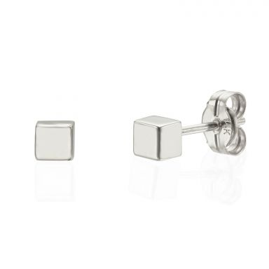 Stud Earrings in 14K White Gold - Golden Cube - Small