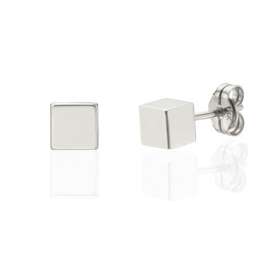 14K White Gold Women's Earrings - Golden Cube - Large