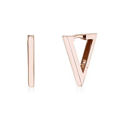 Huggie Earrings in 14K Rose Gold - Golden Triangle