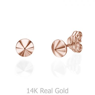Stud Earrings in 14K Rose Gold - Golden Point