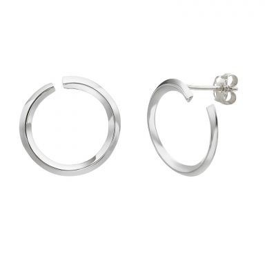14K White Gold Women's Earrings - Sunrise - Large