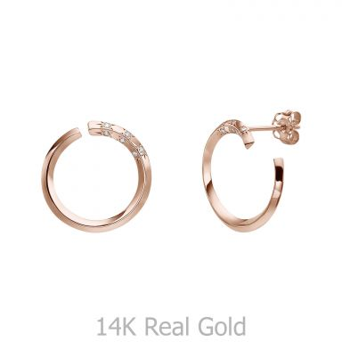 Diamond Stud Earrings in 14K Rose Gold - Sunrise