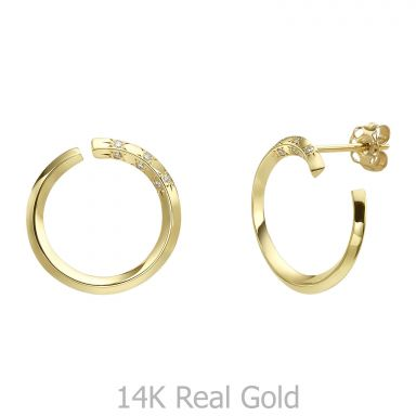 Diamond Stud Earrings in 14K Yellow Gold - Sunrise - Large
