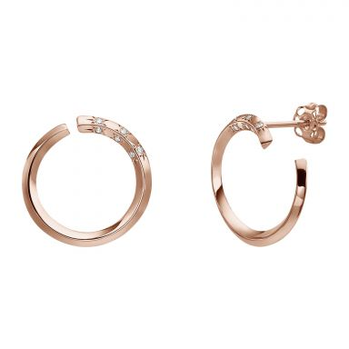 Diamond Stud Earrings in 14K Rose Gold - Sunrise - Large