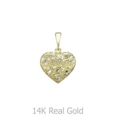 Gold Pendant - Embroidered Heart