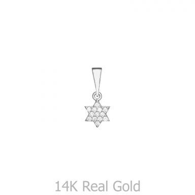 White Gold Pendant - Star of David (Shalom)