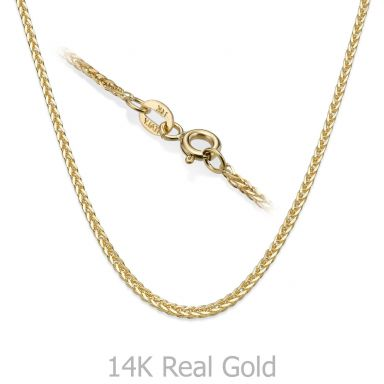 "14K Yellow Gold Spiga Chain Necklace 1mm Thick, 16.5"" Length"