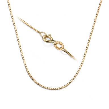"""14K Yellow Gold Venice Chain Necklace 0.8mm Thick, 17.7"""" Length"""