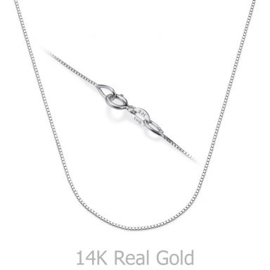 "14K White Gold Venice Chain Necklace 0.53mm Thick, 16.5"" Length"