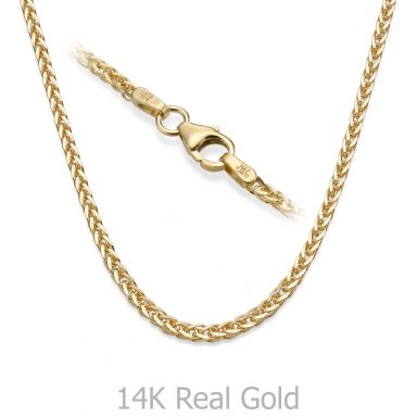 """14K Yellow Gold Spiga Chain Necklace 1.5mm Thick, 17.7"""" Length"""