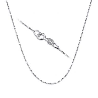 "14K White Gold Twisted Venice Chain Necklace 0.6mm Thick, 16.5"" Length"