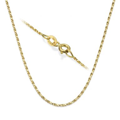 "14K Yellow Gold Twisted Venice Chain Necklace 1mm Thick, 17.7"" Length"