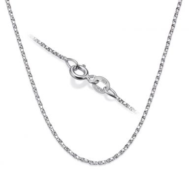 "14K White Gold Twisted Venice Chain Necklace 1mm Thick, 17.7"" Length"