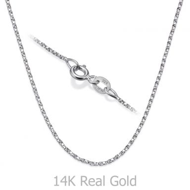 "14K White Gold Twisted Venice Chain Necklace 1mm Thick, 19.5"" Length"