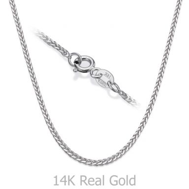 """14K White Gold Spiga Chain Necklace 1mm Thick, 17.7"""" Length"""