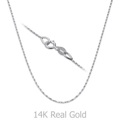 """14K White Gold Twisted Venice Chain Necklace 0.6mm Thick, 17.7"""" Length"""