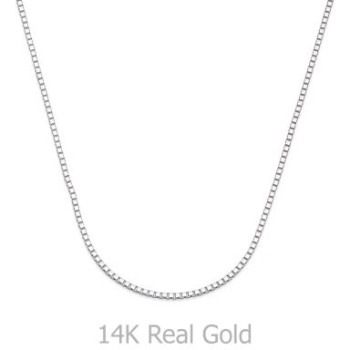"14K White Gold Venice Chain Necklace 0.8mm Thick, 19.5"" Length"