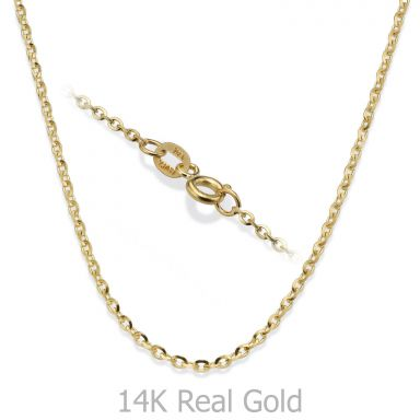 "14K Yellow Gold Rollo Chain Necklace 1.6mm Thick, 17.7"" Length"