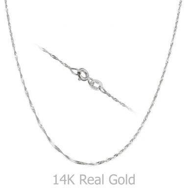 "14K White Gold Singapore Chain Necklace 1.6mm Thick, 17.7"" Length"