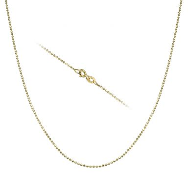 "14K Yellow Gold Balls Chain Necklace 0.9mm Thick, 16.5"" Length"