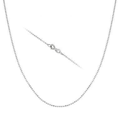 "14K White Gold Balls Chain Necklace 0.9mm Thick, 17.7"" Length"