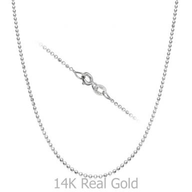 "14K White Gold Balls Chain Necklace 1.4mm Thick, 19.7"" Length"
