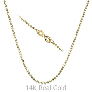 "14K Yellow Gold Balls Chain Necklace 1.8mm Thick, 19.7"" Length"