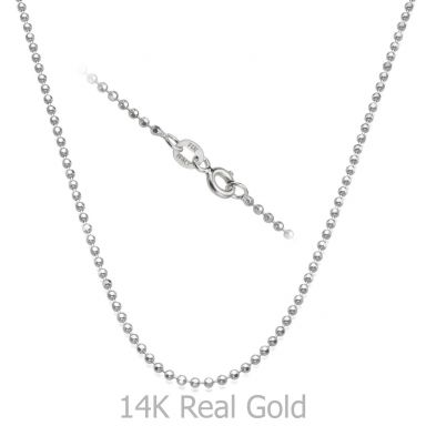 "14K White Gold Balls Chain Necklace 1.8mm Thick, 19.7"" Length"