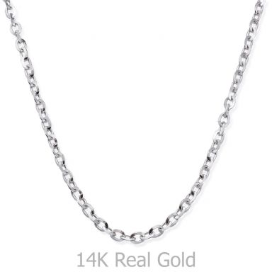 "14K White Gold Chain for Men Rollo 2.2mm Thick, 19.5"" Length"